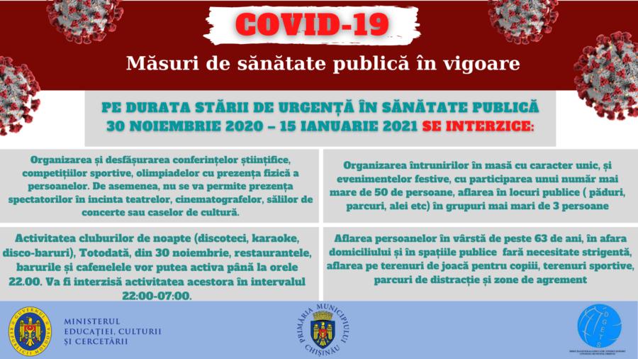 Noi măsuri de prevenire și control a infecției COVID-19, aprobate de CNESP